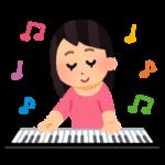 キーボードを演奏する女性のイラスト